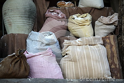 Sacks of grain and flour