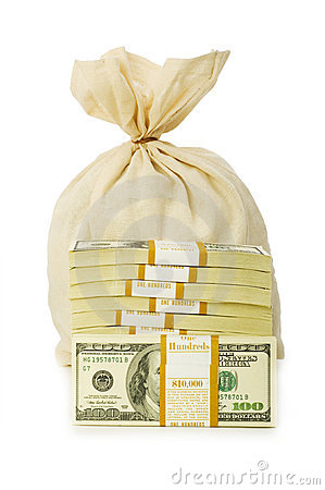 Sacks of money isolated
