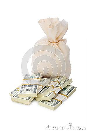 Sacks of money isolated