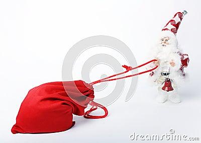 Saco com presentes e Santa