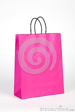 Saco de compras cor-de-rosa.