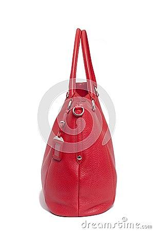 Saco de couro vermelho da mulher