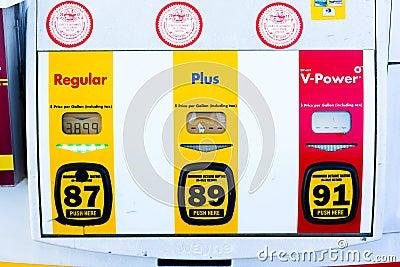 SACRAMENTO, USA - SEPTEMBER 5: High Shell gas price on September Editorial Stock Photo