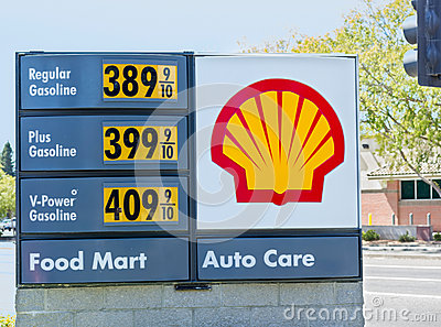 SACRAMENTO, USA - SEPTEMBER 5: High Shell gas price on September Editorial Stock Photo