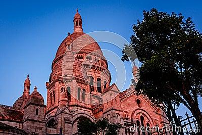 Sacre Coeur Cathedral on Montmartre Hill at Dusk, Paris