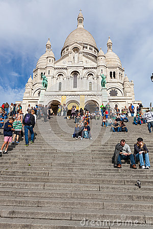 Sacre Coeur Cathedral in Montmartre Editorial Stock Image