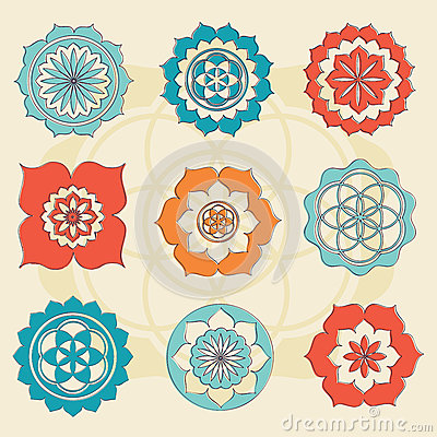 Free Sacred Geometry Flower Of Life Symbols Royalty Free Stock Photos - 32359988