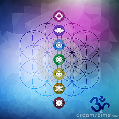 Free Sacred Geometry Flower Of Life With Chakra Icons Stock Photos - 66352633