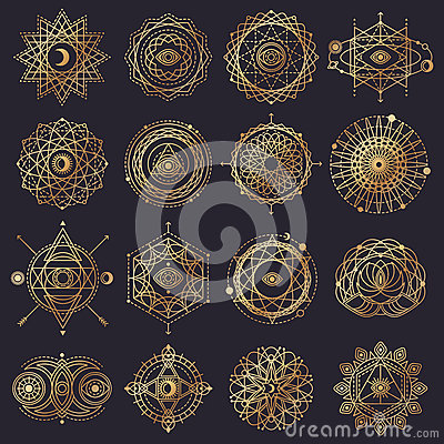 Free Sacred Geometry Forms With Eye, Moon And Sun Royalty Free Stock Images - 74804469
