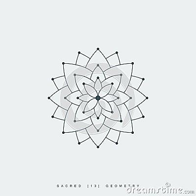 Sacred geometry, lotus flower or flower of life Vector Illustration