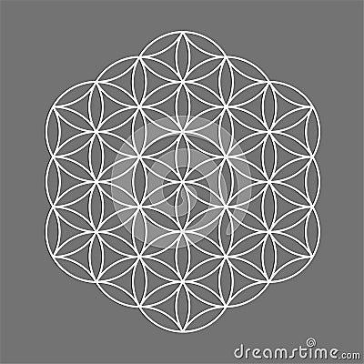 Free Sacred Geometry Symbol, Flower Of Life For Alchemy, Spirituality, Religion, Philosophy, Astrology Emblem Or Label. White Icon Logo Royalty Free Stock Photos - 99830368