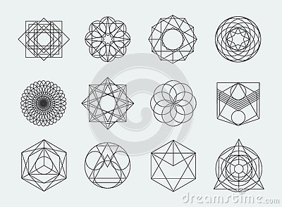 Sacred geometry symbols collection. set of hipster, abstract, alchemy, spiritual, mystic elements on white background. Vector Illustration