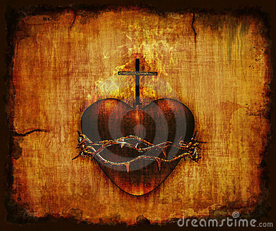 Sacred Heart on Parchment