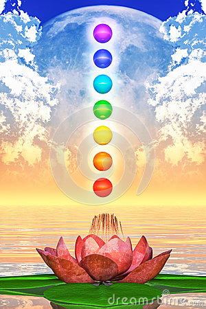 Free Sacred Lotus And Chakra Spheres Royalty Free Stock Images - 48749139