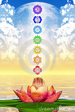 Free Sacred Lotus And Chakras Stock Photos - 48752613