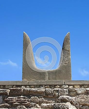 Sacred Minotaur horns stone symbol