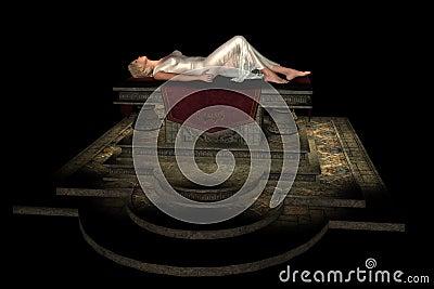 Sacrificial virgin on altar