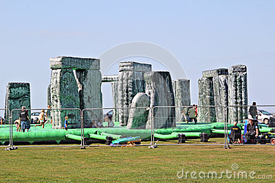 Sacrilege inflatable stonehenge Editorial Stock Photo