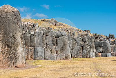 Sacsayhuaman ruins in the peruvian Andes at Cuzco Peru