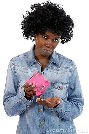 Sad African Lady with No Money