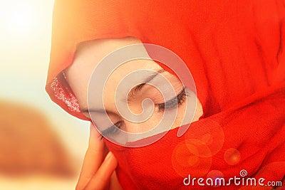 Sad arabic woman
