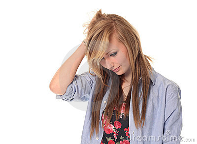 Sad attractive young teenage girl