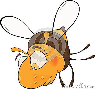 Sad bee. Cartoon