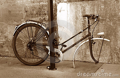 The sad bike in sepia