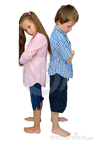 Sad boy and girl punished after argument, on white