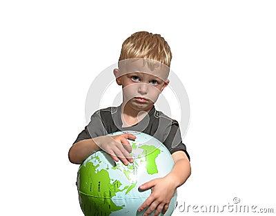 Sad boy points to world
