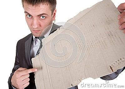 Sad businessman with cardboard frame