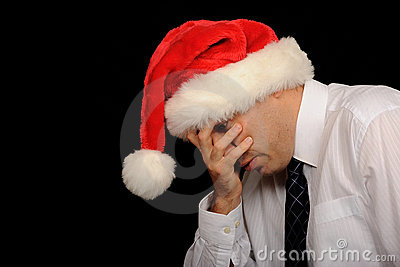 Sad businessman at Christmas