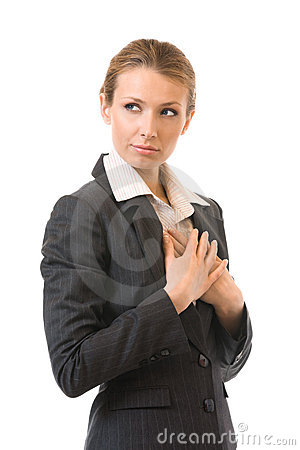 Sad businesswoman, isolated on white