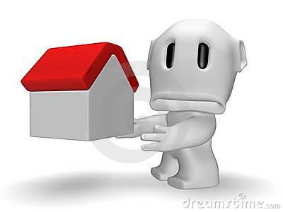 Sad caricature of man with house