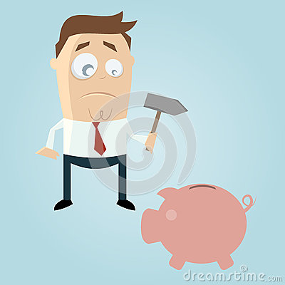 Sad cartoon man with piggy bank