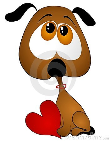 Sad Cartoon Puppy Holding Valentine Heart