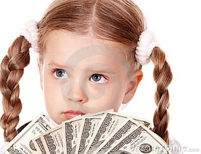 Sad child with money dollar.