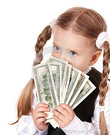 Sad child with money dollar.