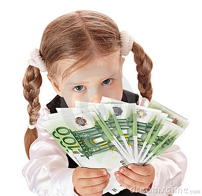 Sad Child With Money Euro. Stock Photography - Image: 15310312
