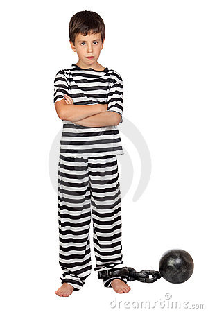 Sad child with prisoner ball
