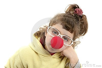 Sad clown nose little girl with big glasses
