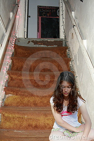 Free Sad Depressed Teen Girl On Stairs Royalty Free Stock Photo - 19920405