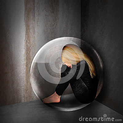 Free Sad Depressed Woman In Dark Bubble Stock Image - 28158811