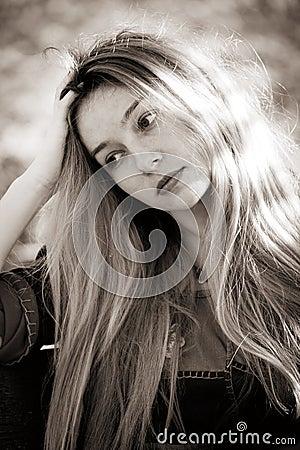 Sad depressed young woman