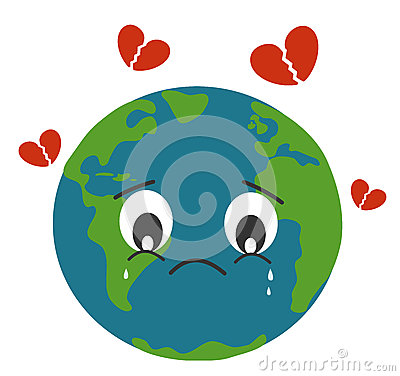 Sad earth crying with breaking heart concept illustration Vector Illustration