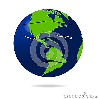 Sad earth icon