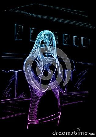 Sad emo kid, neon