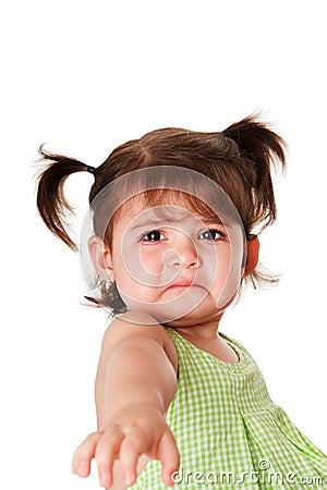 Sad face of little girl Stock Photo