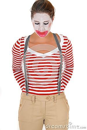 Sad female clown suspenders