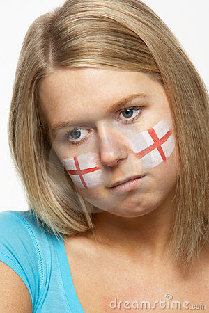 Sad Female Sports Fan With St Georges Flag On Face